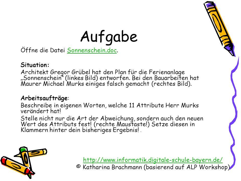 http://www.informatik.digitale-schule-bayern.de/ © Katharina Brachmann (basierend auf ALP Workshop) Aufgabe Öffne die Datei Sonnenschein.doc.Sonnensch