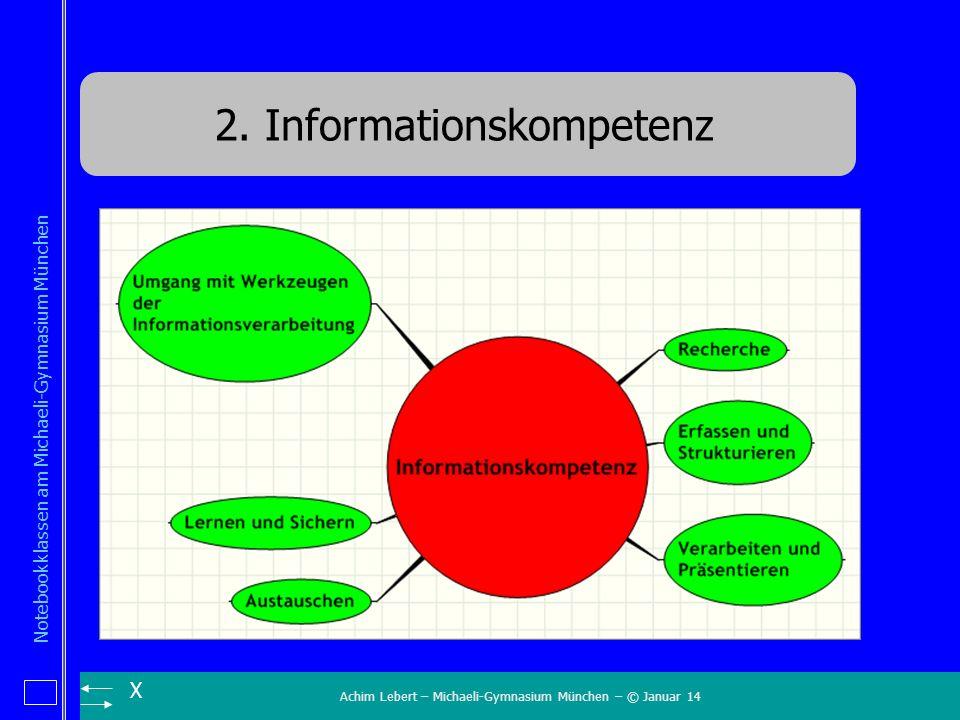 Achim Lebert – Michaeli-Gymnasium München – © Januar 14 Notebookklassen am Michaeli-Gymnasium München X 2. Informationskompetenz