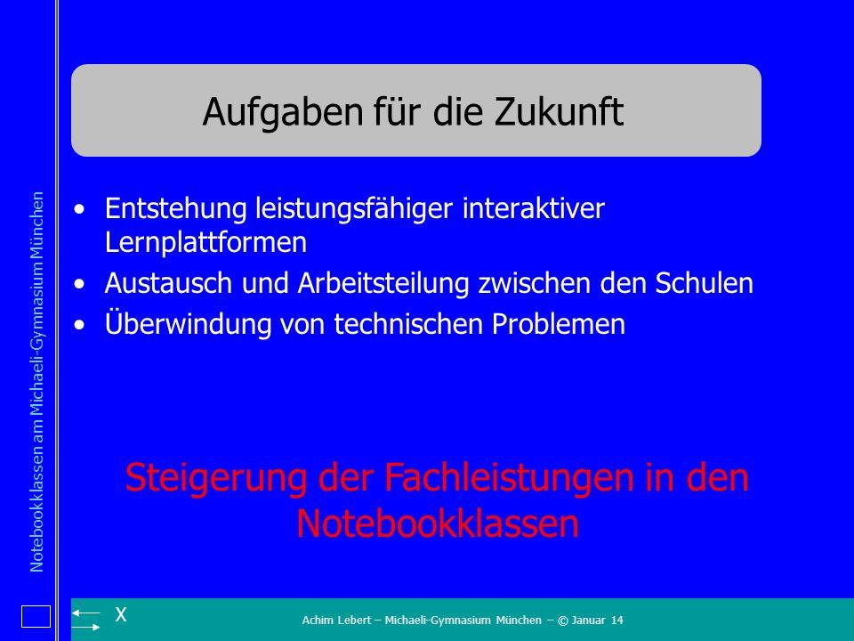 Achim Lebert – Michaeli-Gymnasium München – © Januar 14 Notebookklassen am Michaeli-Gymnasium München X Aufgaben für die Zukunft Entstehung leistungsf