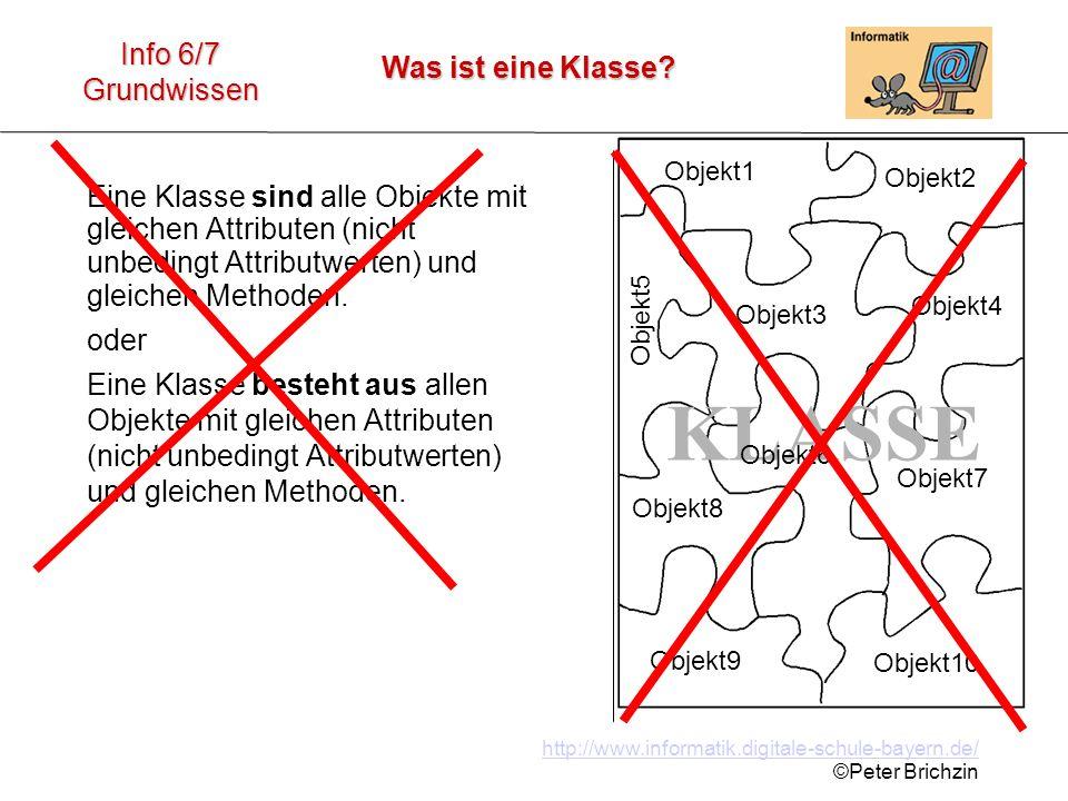 http://www.informatik.digitale-schule-bayern.de/ ©Peter Brichzin Was ist eine Klasse? Info 6/7 Grundwissen Eine Klasse sind alle Objekte mit gleichen