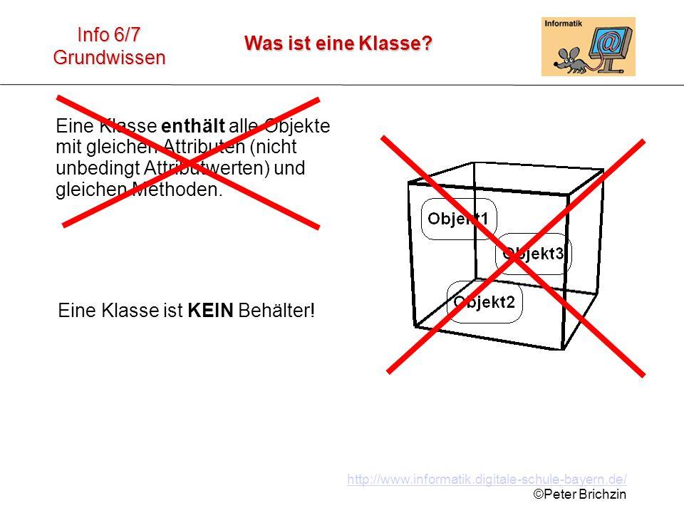 http://www.informatik.digitale-schule-bayern.de/ ©Peter Brichzin Was ist eine Klasse? Info 6/7 Grundwissen Eine Klasse enthält alle Objekte mit gleich
