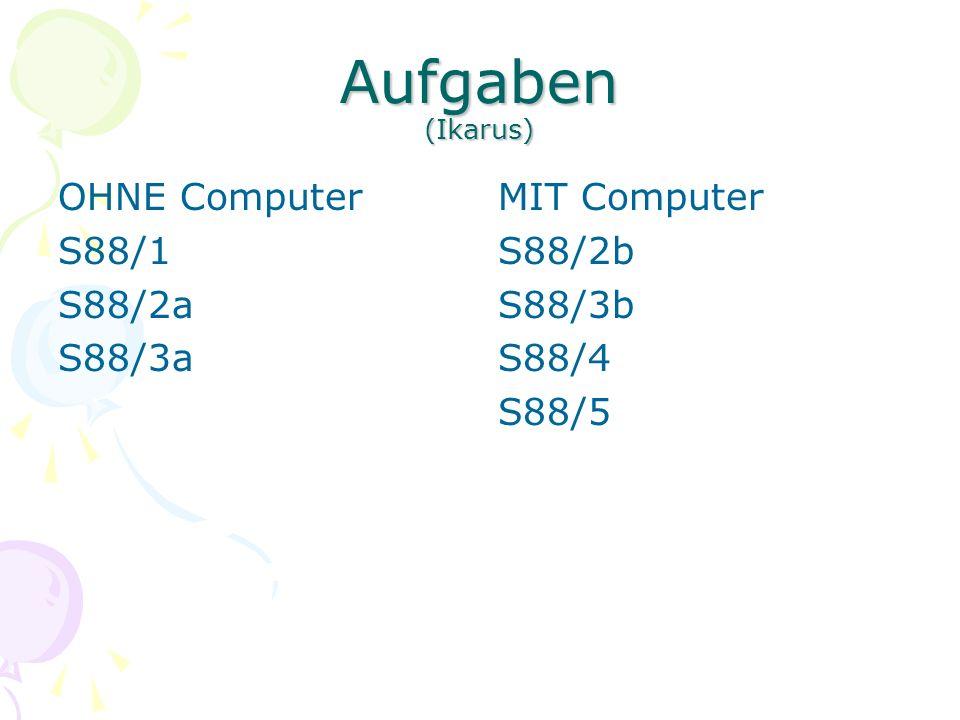 Aufgaben (Ikarus) OHNE Computer S88/1 S88/2a S88/3a MIT Computer S88/2b S88/3b S88/4 S88/5