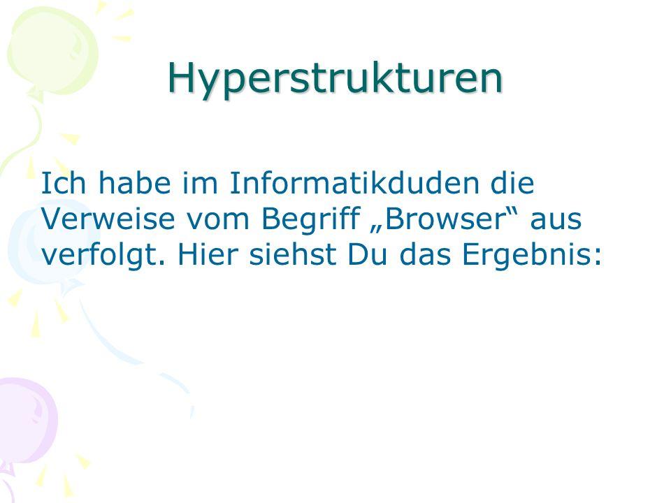 Hyperstrukturen Ich habe im Informatikduden die Verweise vom Begriff Browser aus verfolgt.