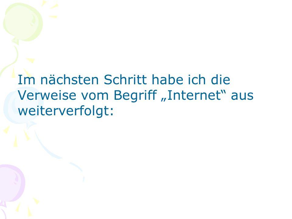 Im nächsten Schritt habe ich die Verweise vom Begriff Internet aus weiterverfolgt: