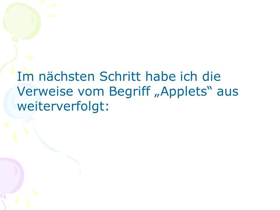 Im nächsten Schritt habe ich die Verweise vom Begriff Applets aus weiterverfolgt: