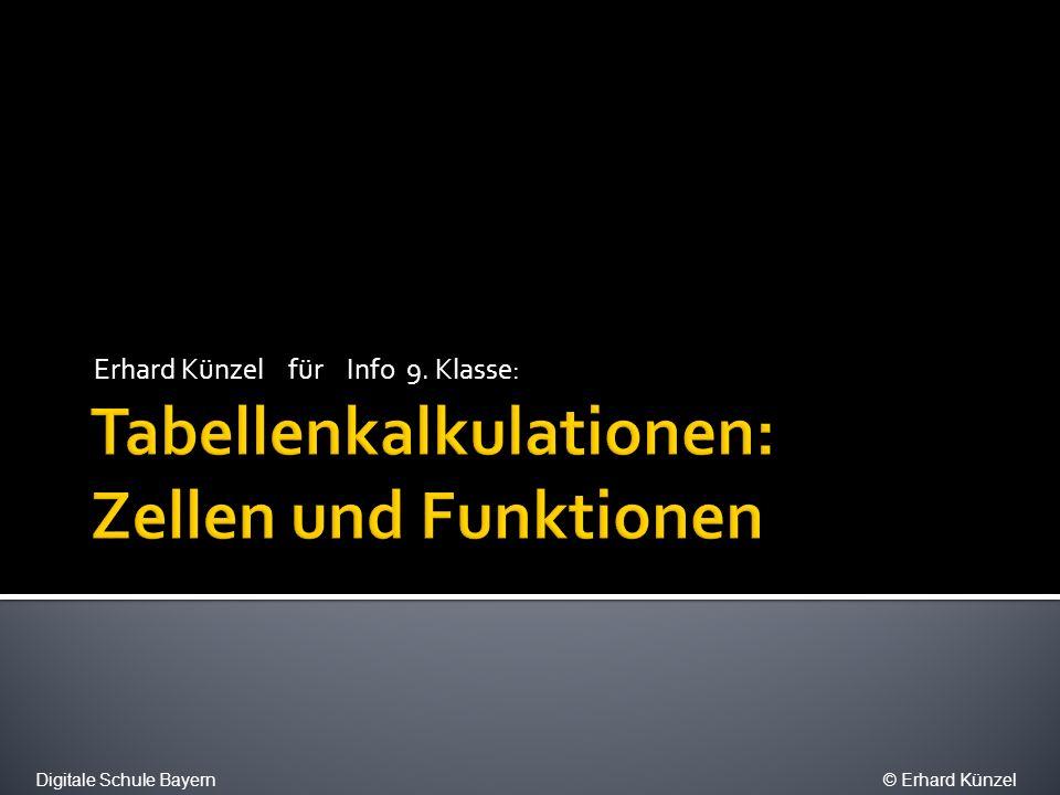Formatierung Attribute Eingangs- parameter Quelle: Bezüge und Werte Hilfesystem Digitale Schule Bayern© Erhard Künzel