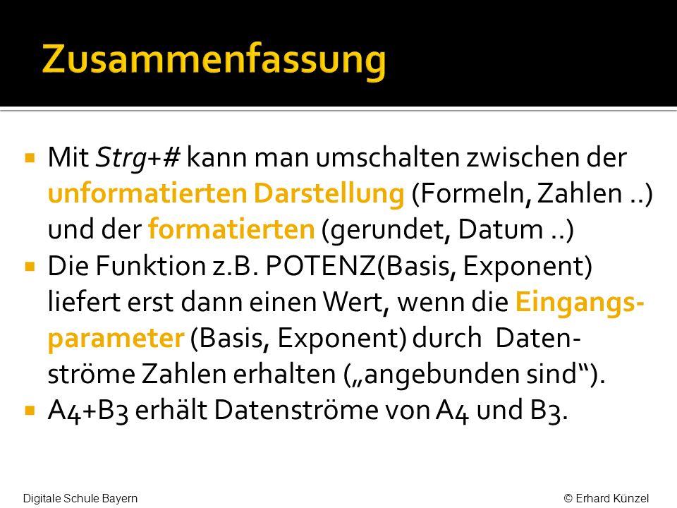 Mit Strg+# kann man umschalten zwischen der unformatierten Darstellung (Formeln, Zahlen..) und der formatierten (gerundet, Datum..) Die Funktion z.B.