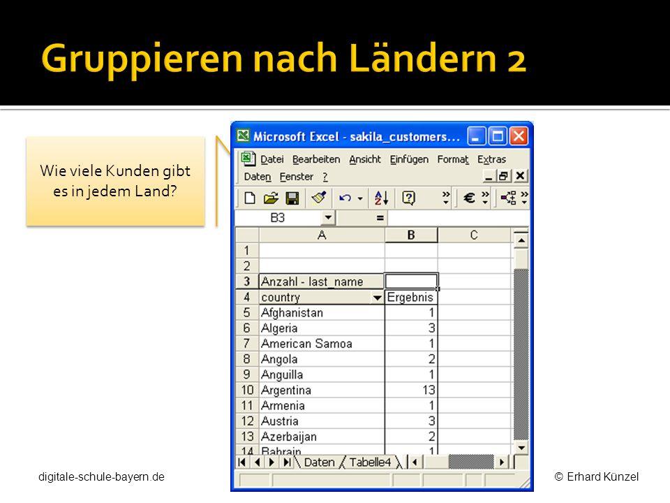 Benutzt man ein Rechenblatt als Datenbank, dann legt man für Abfragen oft ein Rechenblatt mit Verweisen an.