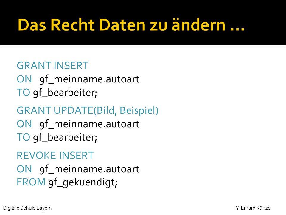 GRANT INSERT ON 9f_meinname.autoart TO 9f_bearbeiter; GRANT UPDATE(Bild, Beispiel) ON 9f_meinname.autoart TO 9f_bearbeiter; REVOKE INSERT ON 9f_meinname.autoart FROM 9f_gekuendigt; Digitale Schule Bayern © Erhard Künzel