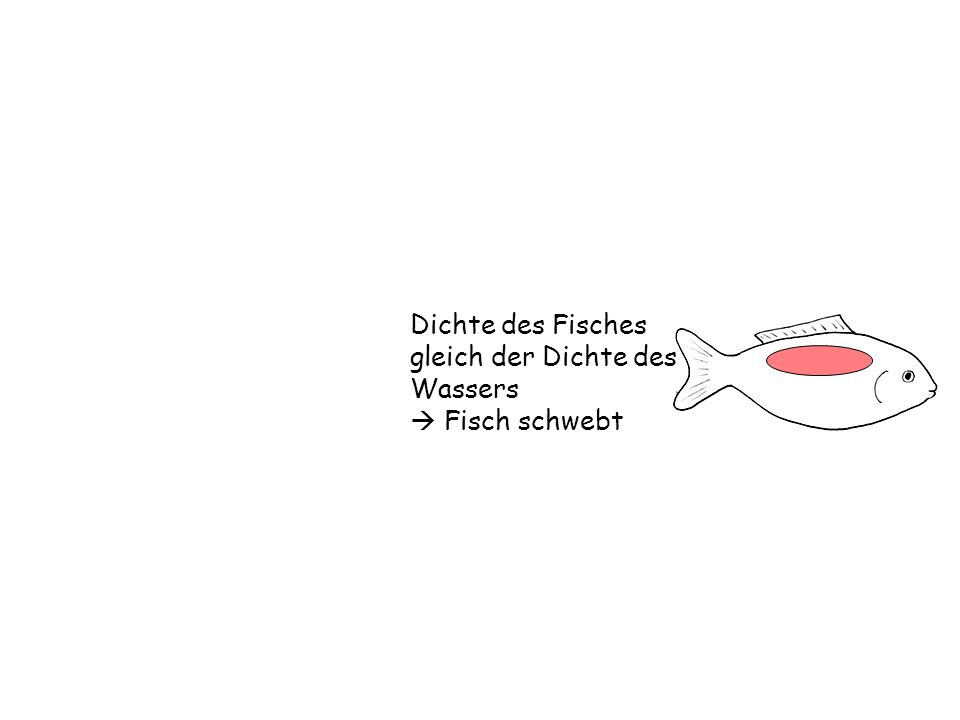 Dichte des Fisches gleich der Dichte des Wassers Fisch schwebt