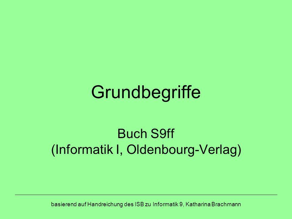 basierend auf Handreichung des ISB zu Informatik 9, Katharina Brachmann Grundbegriffe Buch S9ff (Informatik I, Oldenbourg-Verlag)