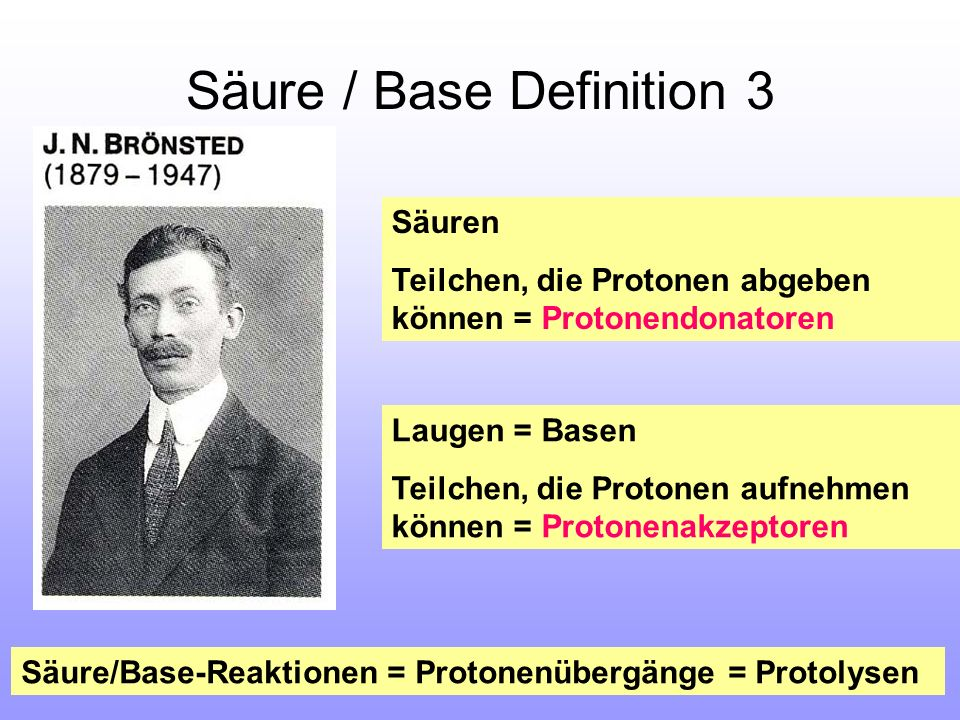 Säure / Base Definition 3 Säuren Teilchen, die Protonen abgeben können = Protonendonatoren Laugen = Basen Teilchen, die Protonen aufnehmen können = Pr