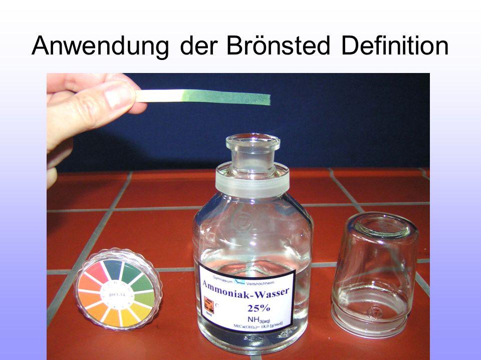 Anwendung der Brönsted Definition
