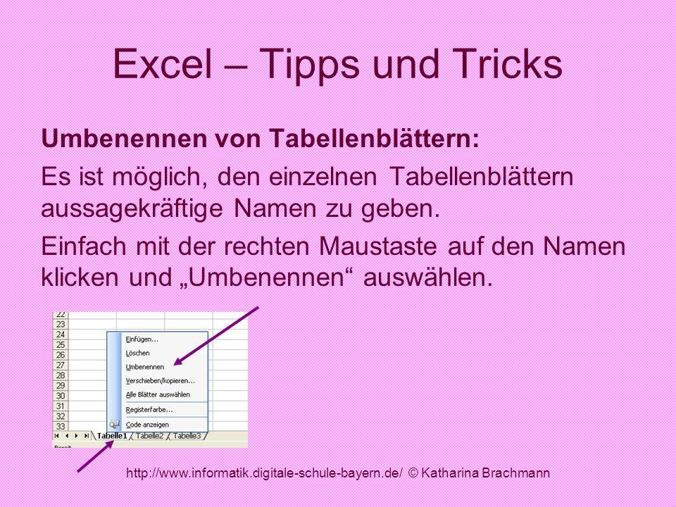 http://www.informatik.digitale-schule-bayern.de/ © Katharina Brachmann Excel – Tipps und Tricks Umbenennen von Tabellenblättern: Es ist möglich, den e