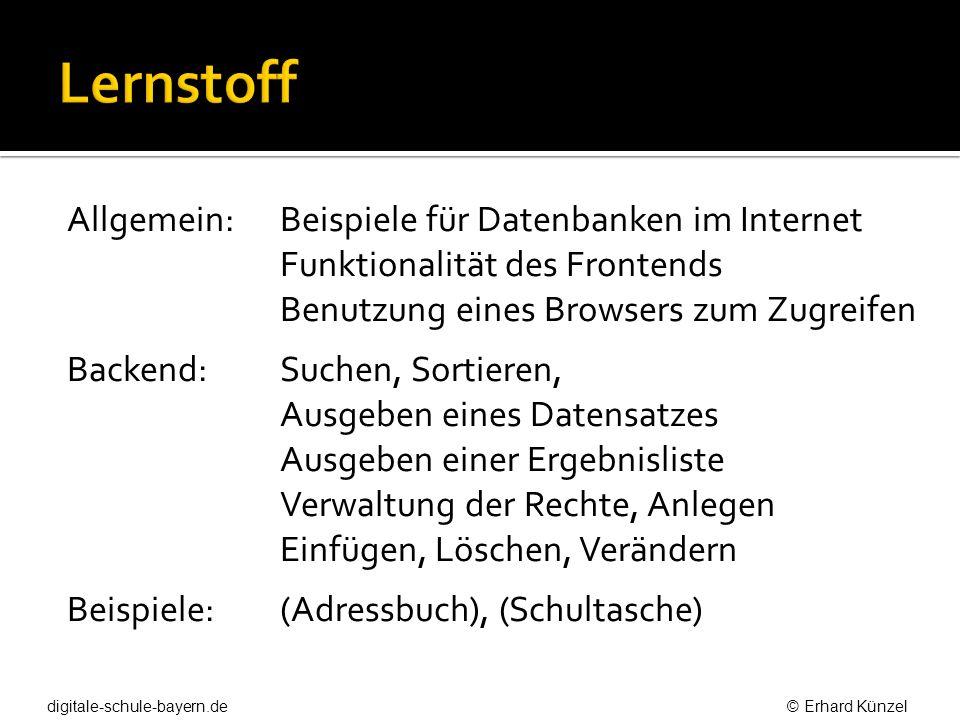 Allgemein: Beispiele für Datenbanken im Internet Funktionalität des Frontends Benutzung eines Browsers zum Zugreifen Backend: Suchen, Sortieren, Ausge