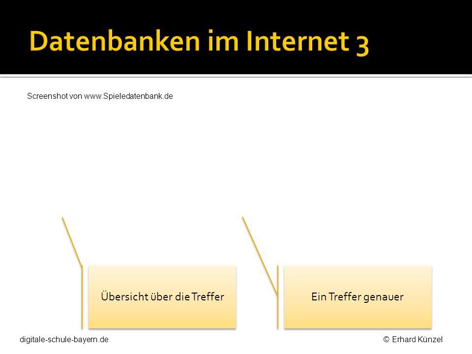 Übersicht über die Treffer Ein Treffer genauer digitale-schule-bayern.de © Erhard Künzel Screenshot von www.Spieledatenbank.de