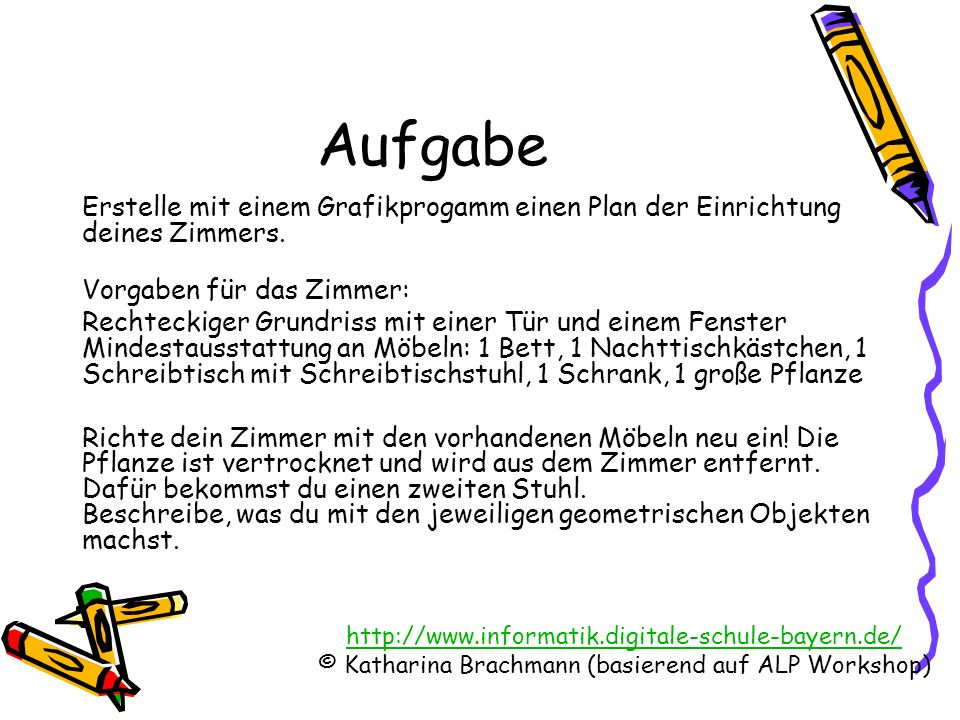 http://www.informatik.digitale-schule-bayern.de/ © Katharina Brachmann (basierend auf ALP Workshop) Objekte und ihre Attribute Tür Bett Nachttisch Schrank Pflanze Stuhl Schreibtisch Fenster