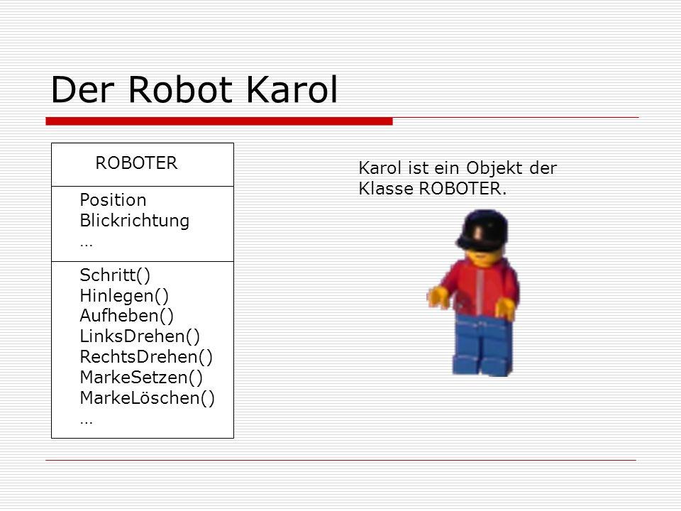 Der Robot Karol Karol ist ein Objekt der Klasse ROBOTER. ROBOTER Position Blickrichtung … Schritt() Hinlegen() Aufheben() LinksDrehen() RechtsDrehen()