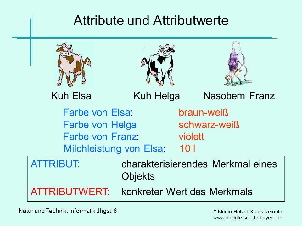 Martin Hölzel, Klaus Reinold www.digitale-schule-bayern.de Natur und Technik: Informatik Jhgst. 6 Attribute und Attributwerte Farbe von Elsa: Farbe vo