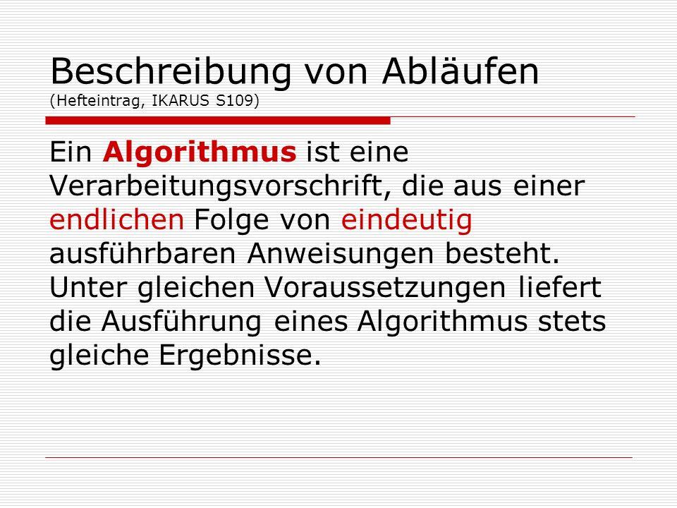 Beschreibung von Abläufen (Hefteintrag, IKARUS S109) Ein Algorithmus ist eine Verarbeitungsvorschrift, die aus einer endlichen Folge von eindeutig aus