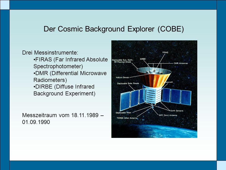 Der Cosmic Background Explorer (COBE) Drei Messinstrumente: FIRAS (Far Infrared Absolute Spectrophotometer) DMR (Differential Microwave Radiometers) D