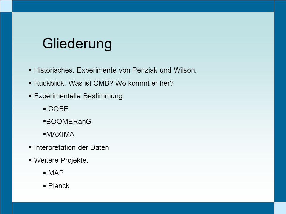 Gliederung Historisches: Experimente von Penziak und Wilson. Rückblick: Was ist CMB? Wo kommt er her? Experimentelle Bestimmung: COBE BOOMERanG MAXIMA