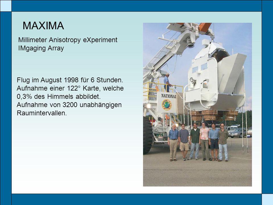 MAXIMA Flug im August 1998 für 6 Stunden. Aufnahme einer 122° Karte, welche 0,3% des Himmels abbildet. Aufnahme von 3200 unabhängigen Raumintervallen.