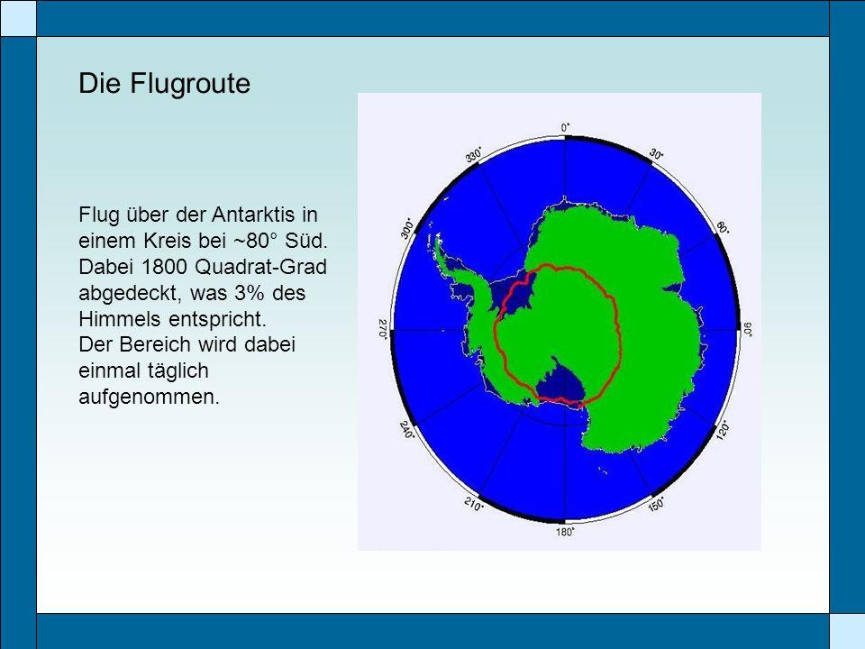 Die Flugroute Flug über der Antarktis in einem Kreis bei ~80° Süd. Dabei 1800 Quadrat-Grad abgedeckt, was 3% des Himmels entspricht. Der Bereich wird