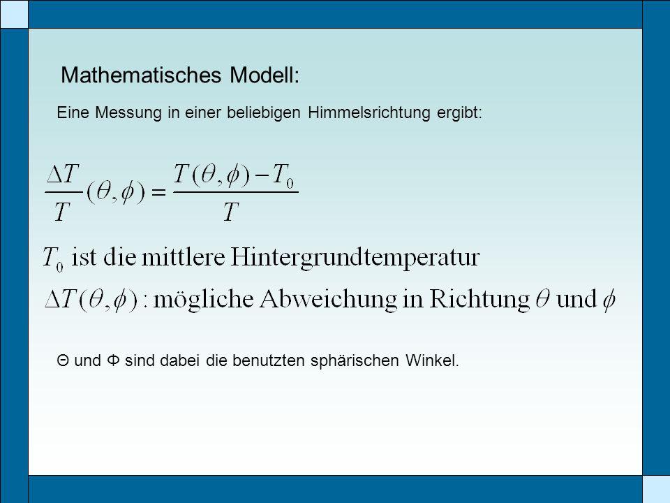 Mathematisches Modell: Eine Messung in einer beliebigen Himmelsrichtung ergibt: Θ und Φ sind dabei die benutzten sphärischen Winkel.