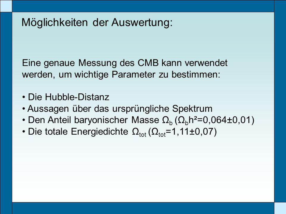 Möglichkeiten der Auswertung: Eine genaue Messung des CMB kann verwendet werden, um wichtige Parameter zu bestimmen: Die Hubble-Distanz Aussagen über