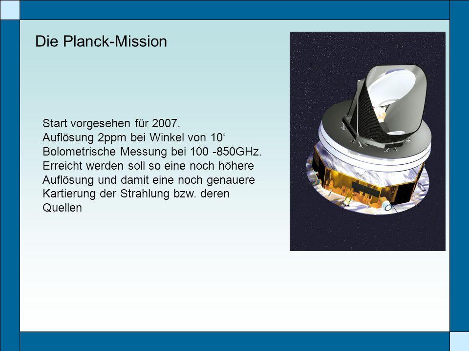 Die Planck-Mission Start vorgesehen für 2007. Auflösung 2ppm bei Winkel von 10 Bolometrische Messung bei 100 -850GHz. Erreicht werden soll so eine noc