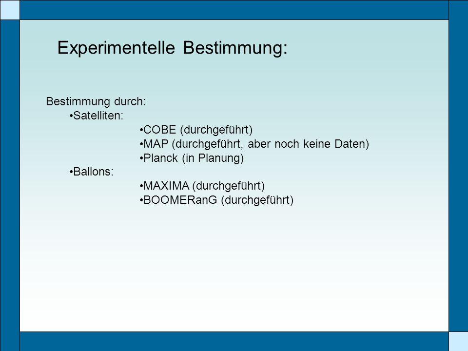 Experimentelle Bestimmung: Bestimmung durch: Satelliten: COBE (durchgeführt) MAP (durchgeführt, aber noch keine Daten) Planck (in Planung) Ballons: MA