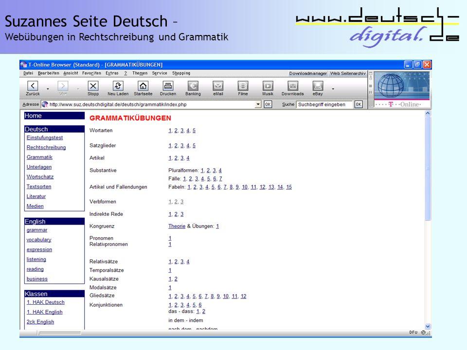 Suzannes Seite Deutsch – Webübungen in Rechtschreibung und Grammatik