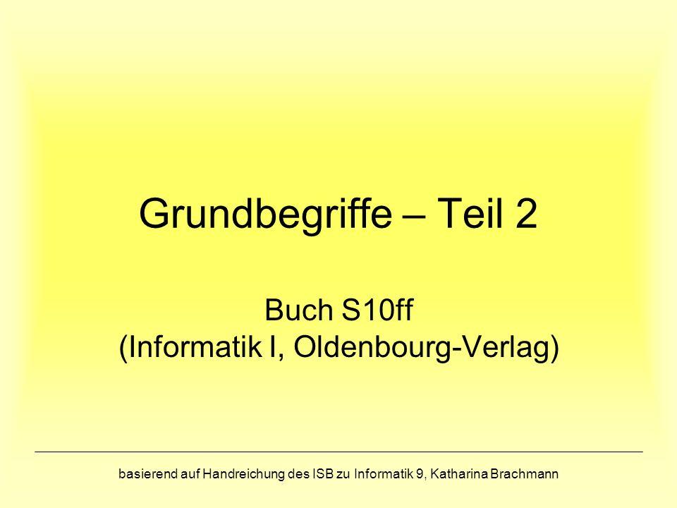 basierend auf Handreichung des ISB zu Informatik 9, Katharina Brachmann Grundbegriffe – Teil 2 Buch S10ff (Informatik I, Oldenbourg-Verlag)