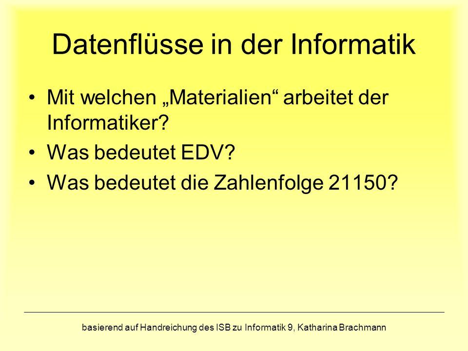 basierend auf Handreichung des ISB zu Informatik 9, Katharina Brachmann Datenflüsse in der Informatik Mit welchen Materialien arbeitet der Informatiker.