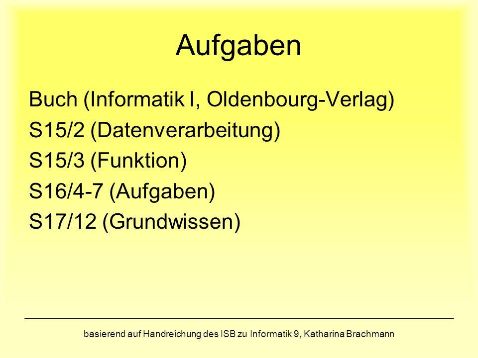 basierend auf Handreichung des ISB zu Informatik 9, Katharina Brachmann Aufgaben Buch (Informatik I, Oldenbourg-Verlag) S15/2 (Datenverarbeitung) S15/3 (Funktion) S16/4-7 (Aufgaben) S17/12 (Grundwissen)