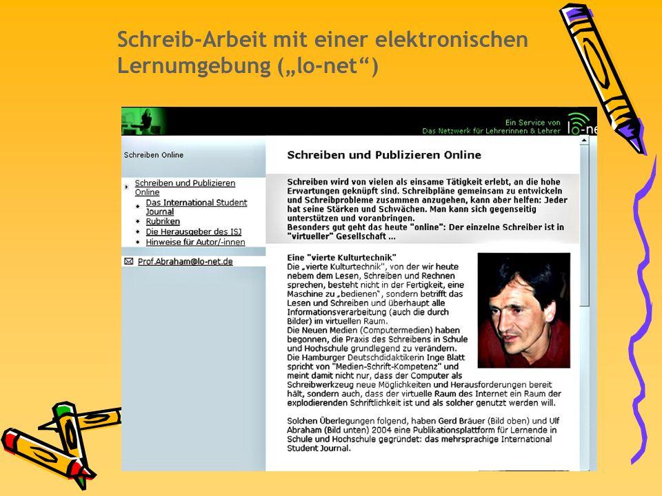 Schreib-Arbeit mit einer elektronischen Lernumgebung (lo-net)