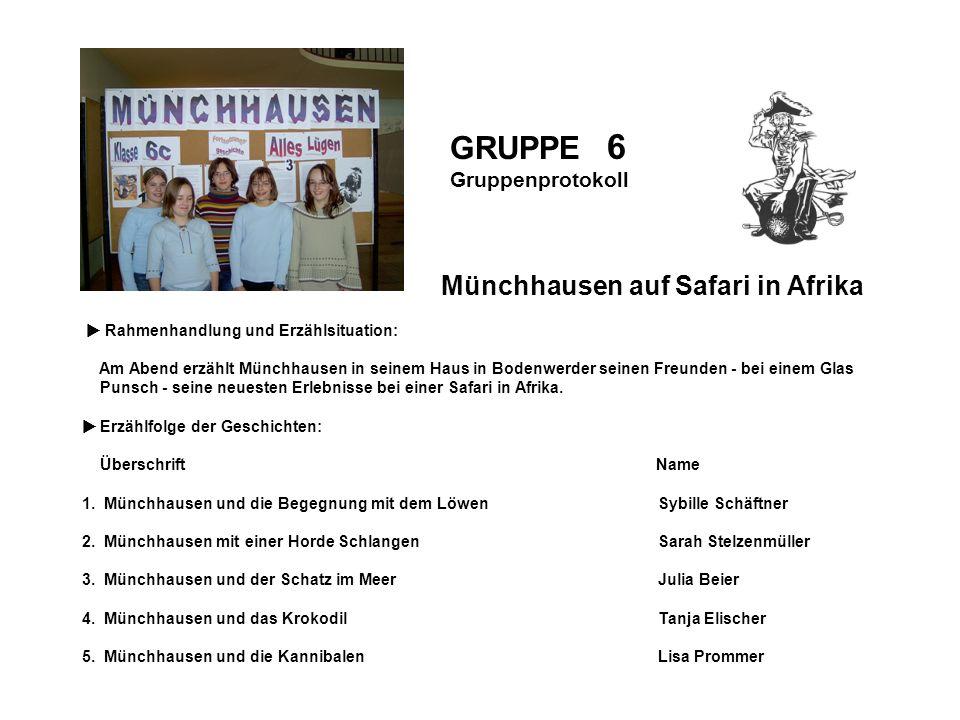 Gruppenprotokoll GRUPPE 6 Gruppenprotokoll Münchhausen auf Safari in Afrika Rahmenhandlung und Erzählsituation: Am Abend erzählt Münchhausen in seinem