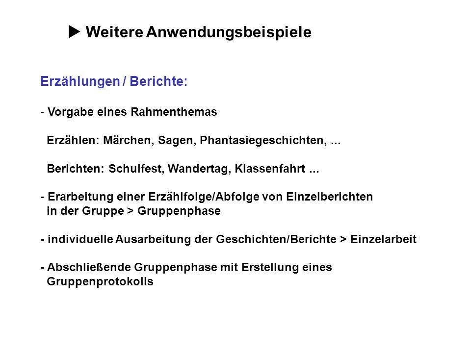 Weitere Anwendungsbeispiele Erzählungen / Berichte: - Vorgabe eines Rahmenthemas Erzählen: Märchen, Sagen, Phantasiegeschichten,... Berichten: Schulfe