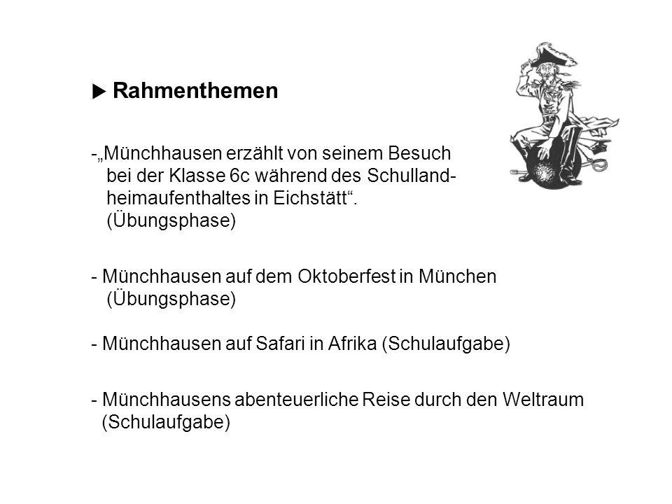 Rahmenthemen -Münchhausen erzählt von seinem Besuch bei der Klasse 6c während des Schulland- heimaufenthaltes in Eichstätt. (Übungsphase) - Münchhause