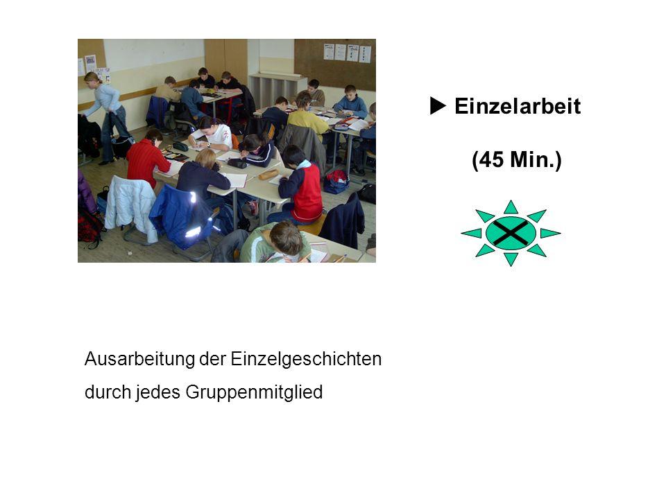 Ausarbeitung der Einzelgeschichten durch jedes Gruppenmitglied Einzelarbeit (45 Min.)