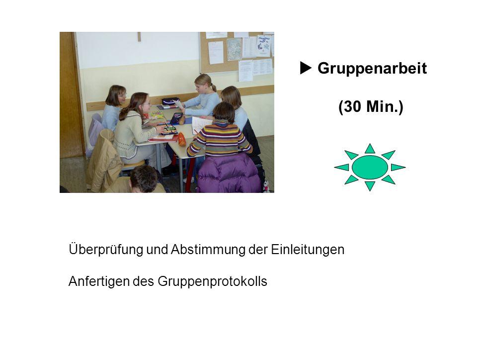 Überprüfung und Abstimmung der Einleitungen Anfertigen des Gruppenprotokolls Gruppenarbeit (30 Min.)