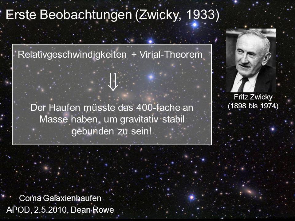 Fritz Zwicky (1898 bis 1974) Erste Beobachtungen (Zwicky, 1933) Coma Galaxienhaufen APOD, 2.5.2010, Dean Rowe Relativgeschwindigkeiten + Virial-Theore