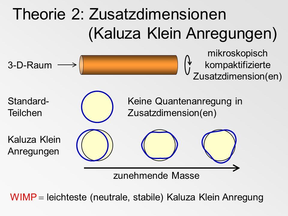 Theorie 2: Zusatzdimensionen (Kaluza Klein Anregungen) 3-D-Raum mikroskopisch kompaktifizierte Zusatzdimension(en) Standard- Teilchen Keine Quantenanr