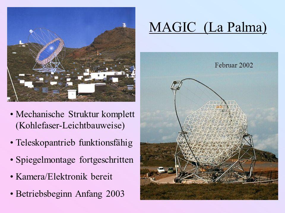 MAGIC (La Palma) Mechanische Struktur komplett (Kohlefaser-Leichtbauweise) Teleskopantrieb funktionsfähig Spiegelmontage fortgeschritten Kamera/Elektronik bereit Betriebsbeginn Anfang 2003 Februar 2002