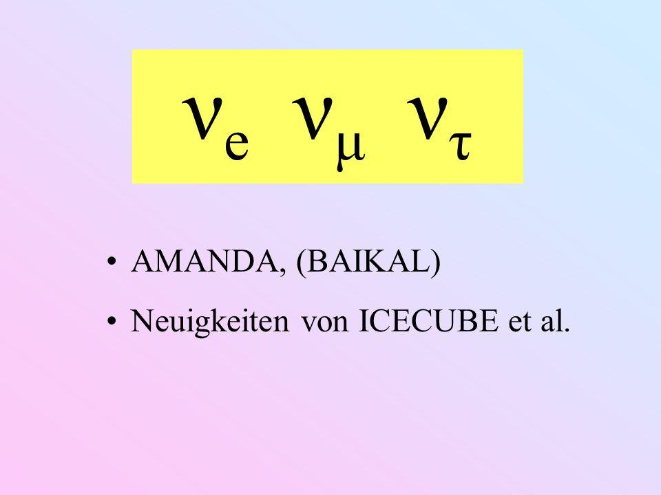 ν e ν μ ν τ AMANDA, (BAIKAL) Neuigkeiten von ICECUBE et al.