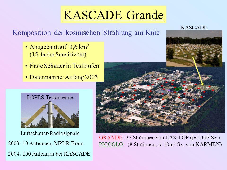 KASCADE Grande Komposition der kosmischen Strahlung am Knie Ausgebaut auf 0,6 km 2 (15-fache Sensitivität) Erste Schauer in Testläufen Datennahme: Anfang 2003 GRANDE: 37 Stationen von EAS-TOP (je 10m 2 Sz.) PICCOLO: (8 Stationen, je 10m 2 Sz.