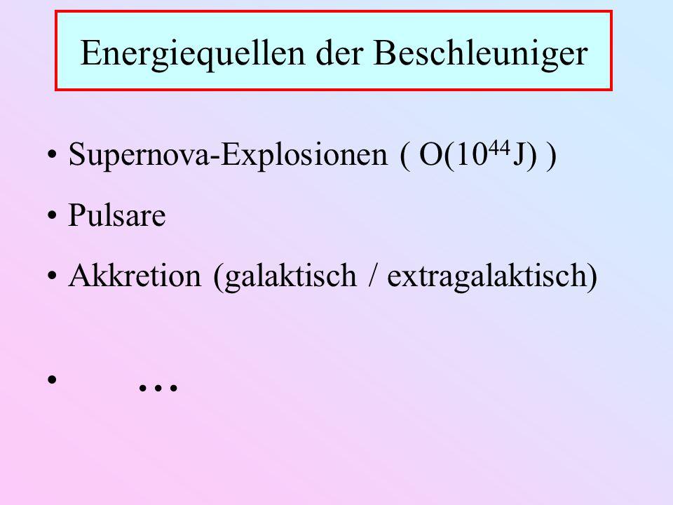 Energiequellen der Beschleuniger Supernova-Explosionen ( O(10 44 J) ) Pulsare Akkretion (galaktisch / extragalaktisch)...