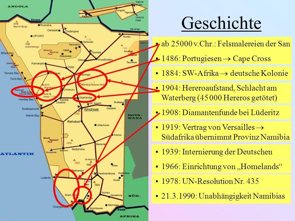 Geschichte ab 25000 v.Chr.: Felsmalereien der San 1486: Portugiesen Cape Cross 1884: SW-Afrika deutsche Kolonie 1904: Hereroaufstand, Schlacht am Wate