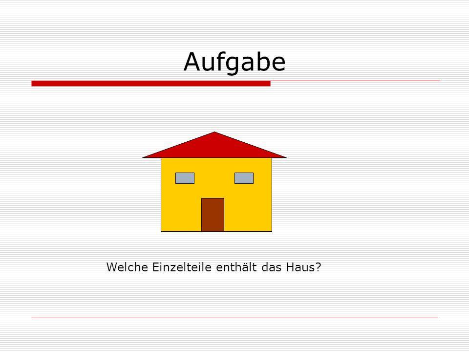 Aufgabe Welche Einzelteile enthält das Haus?
